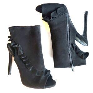 Ruffle trim heeled open toe booties
